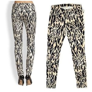 7 FOR ALL MANKIND Animal Print Skinny Jeans 27 X31
